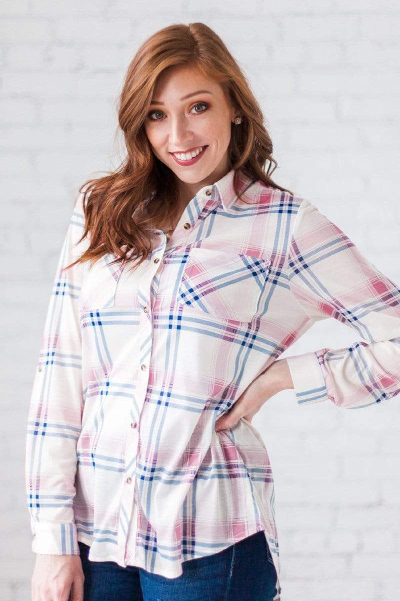 Tops Sydney Plaid Button Up Top Ivory