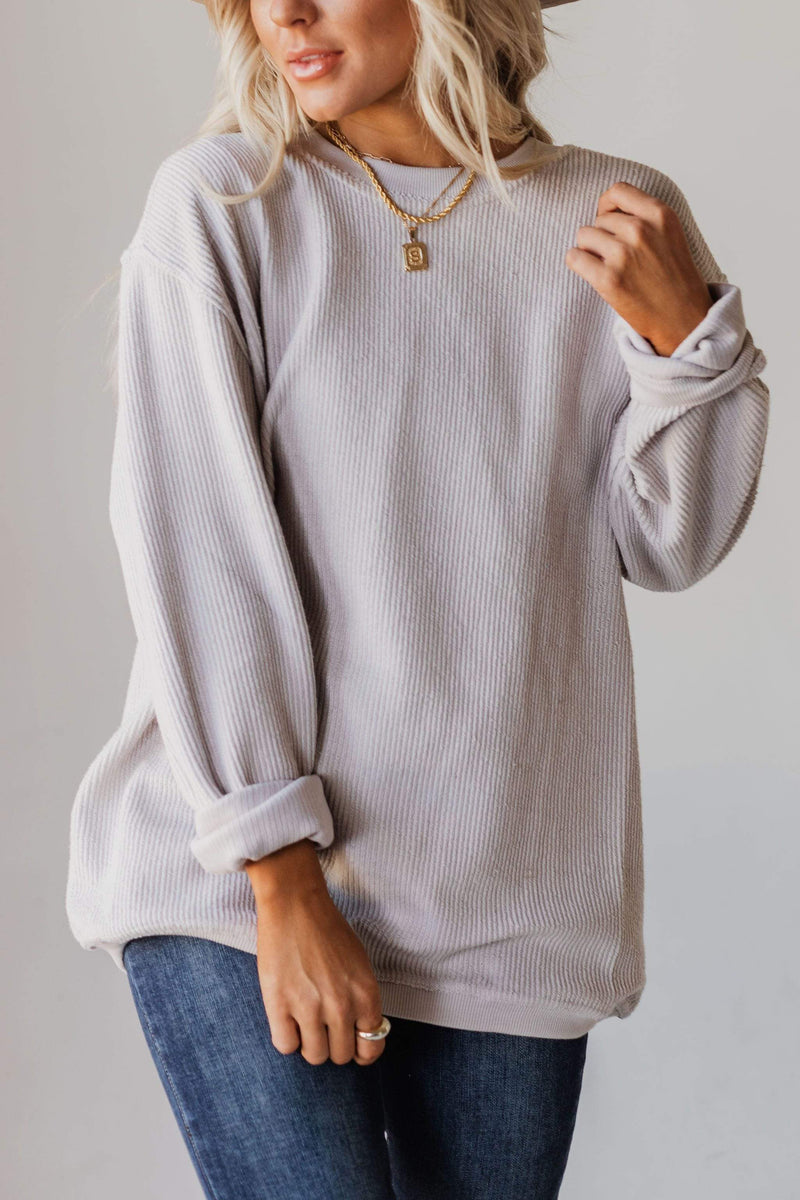 Tops Tommy Washed Corduroy Crew Neck Sweatshirt Cloud
