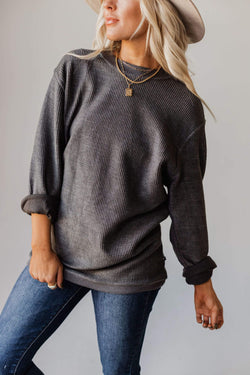 Tops Tommy Washed Corduroy Crew Neck Sweatshirt Shadow