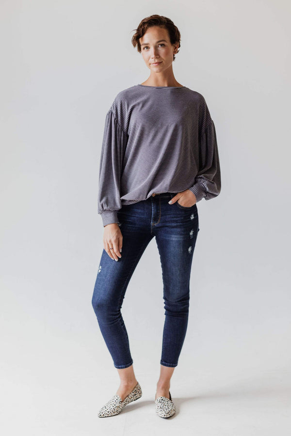 Tops Tonya Puff Sleeve Striped Top Charcoal