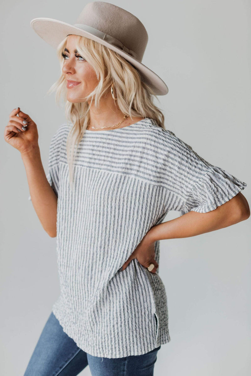 Tops Tracy Striped Button Back Top Denim