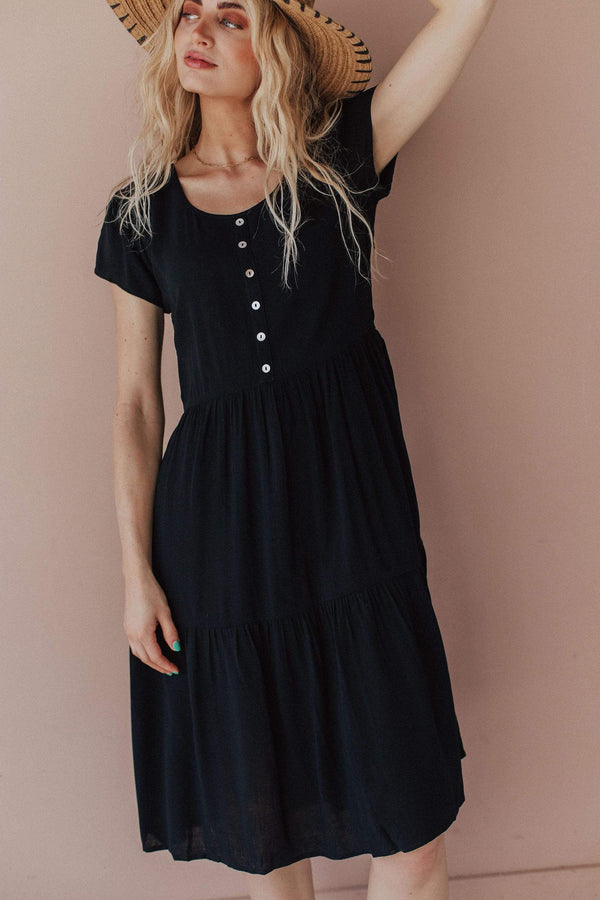 Tops Wanda Tiered Dress with Button Detail Black