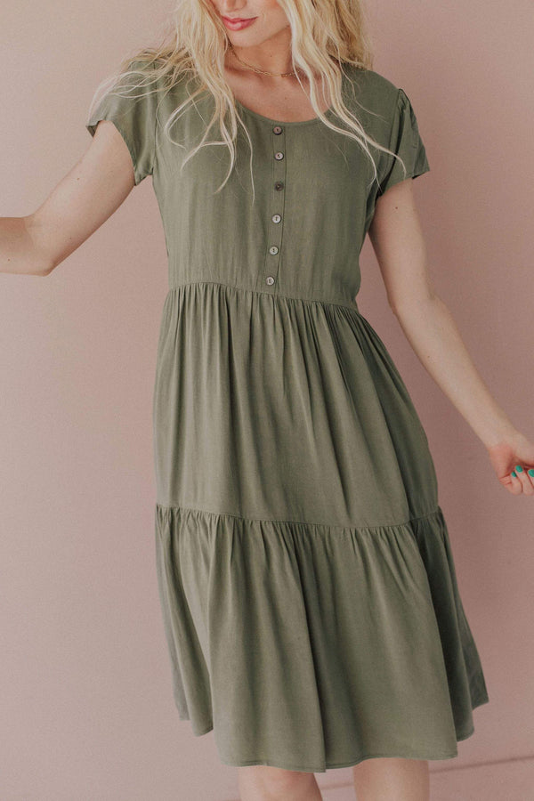 Tops Wanda Tiered Dress with Button Detail Pistachio