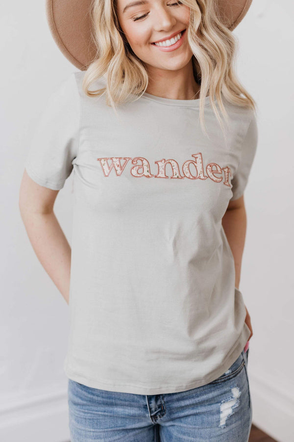Tops Wander Embroidered Tee Sage