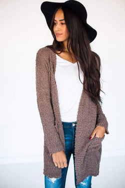 Winslet Popcorn Cardigan Brown Small