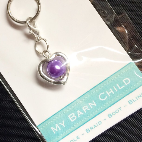 Pearl Heart Charm in Purple from My Barn Child