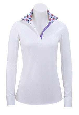 RJ Classics Paige Jr Pullover Shirt White w/purple floral and dot trim P610G-J