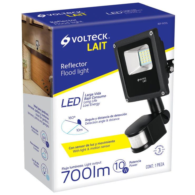 REFLECTOR DE LED,10W C/SENSOR DE MOVIMIE