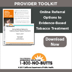 Provider Toolkit-Online Referral Options to Evidence-Based Tobacco Treatment