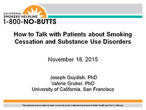Webinar-Smoking Cessation and Substance Use Disorders