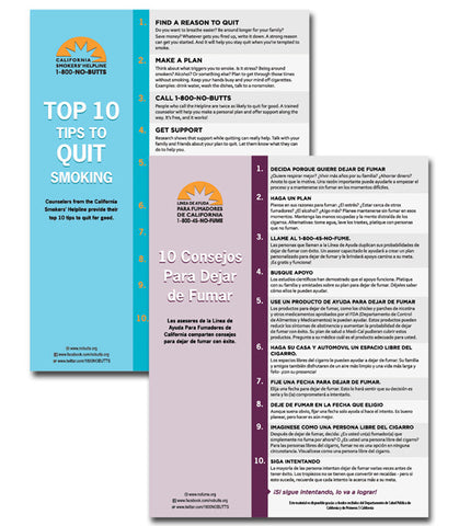 8.5 x 11 Flyer-Top 10 Tips to Quit Smoking (Print Version)
