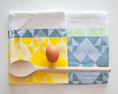 Woven Tea Towels - Yellow/Grey (2 Pack)