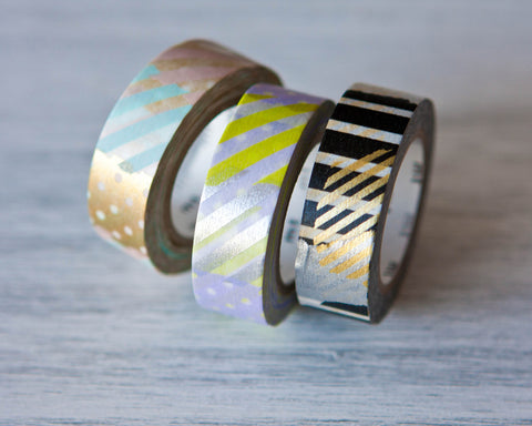 Washi Tapes - Gold & Black Patchwork