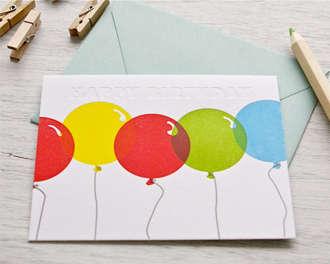 Letterpress Birthday Balloons Card