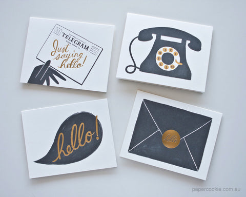 Hello Cards (Box Set of 8) assorted