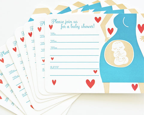 Letterpress Baby Invitation (8 pack)