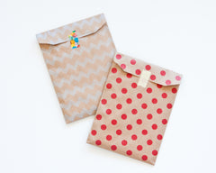 Kraft Paper Bags - Red /Silver