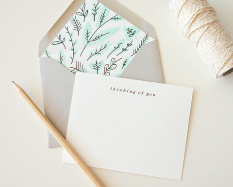 Letterpress Liner Card Set - Thinking of you