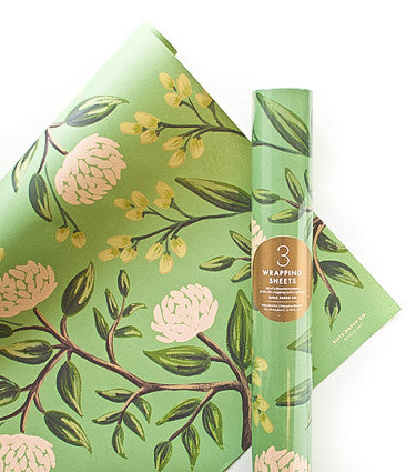 Peonies Wrapping Sheets (Roll of 3)