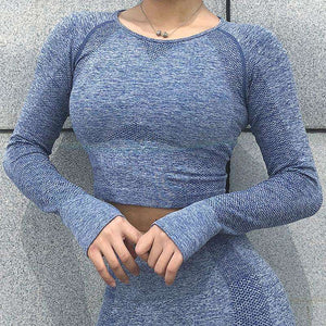 MEND CORE Seamless Sleeved Crop - Bue