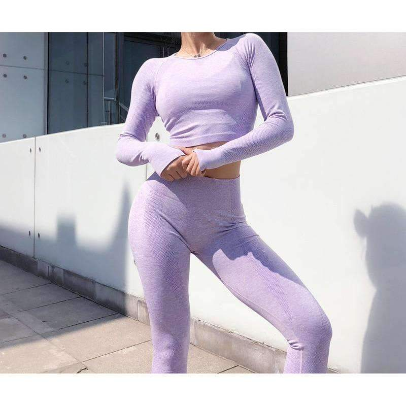 MEND CORE Seamless Sleeved Crop - Light Purlpe