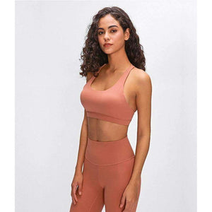 MEND FLY Crisscross Sport Bra - Wood Brown