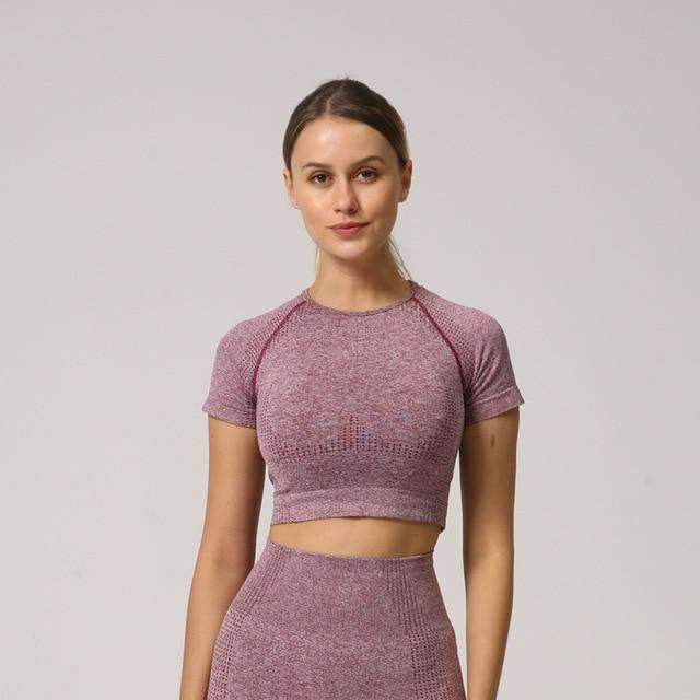 MEND Seamless VELOCITY Cropped Tee - Wine Red
