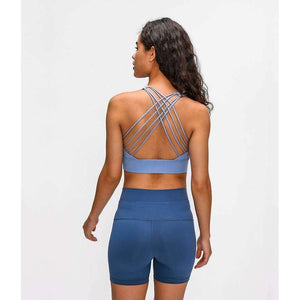 MEND Shockproof Cross Straps Running Bra - Ice Blue