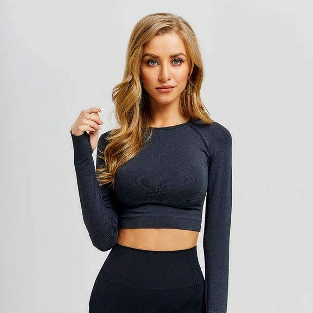 MEND VELOCITY Seamless Sleeved Crop - Black