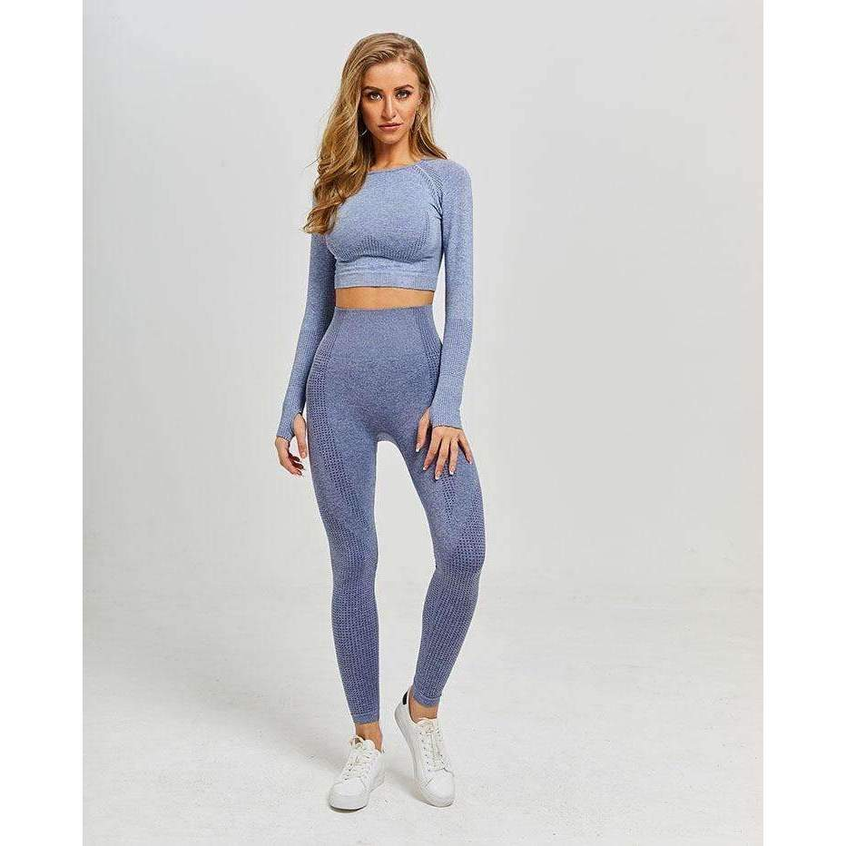 MEND VELOCITY Seamless Sleeved Crop - Light Grey