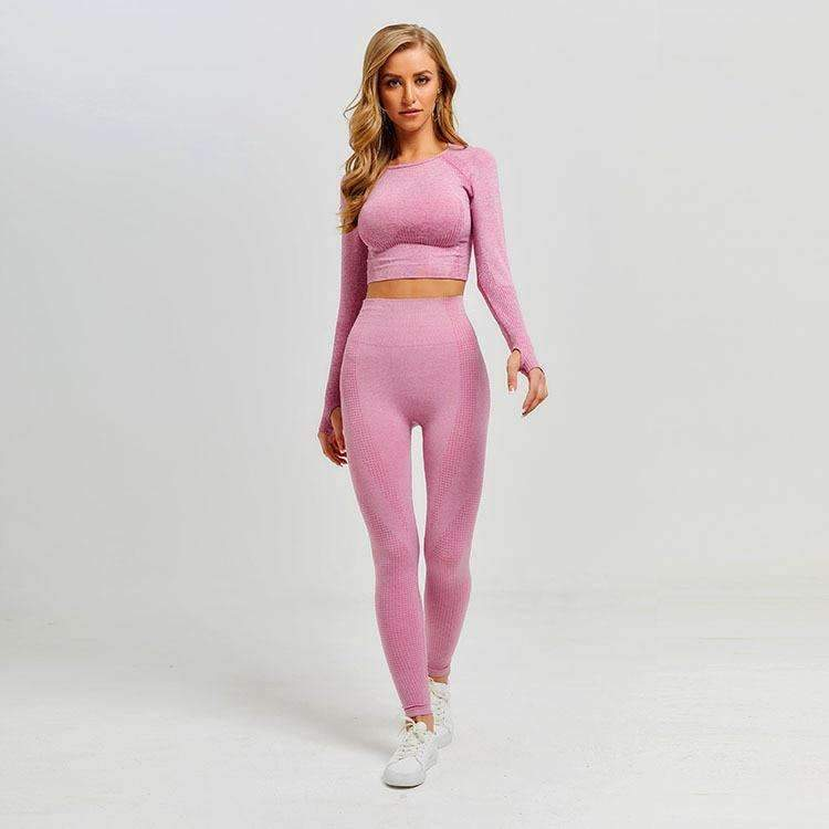 MEND VELOCITY Seamless Sleeved Crop - Pink