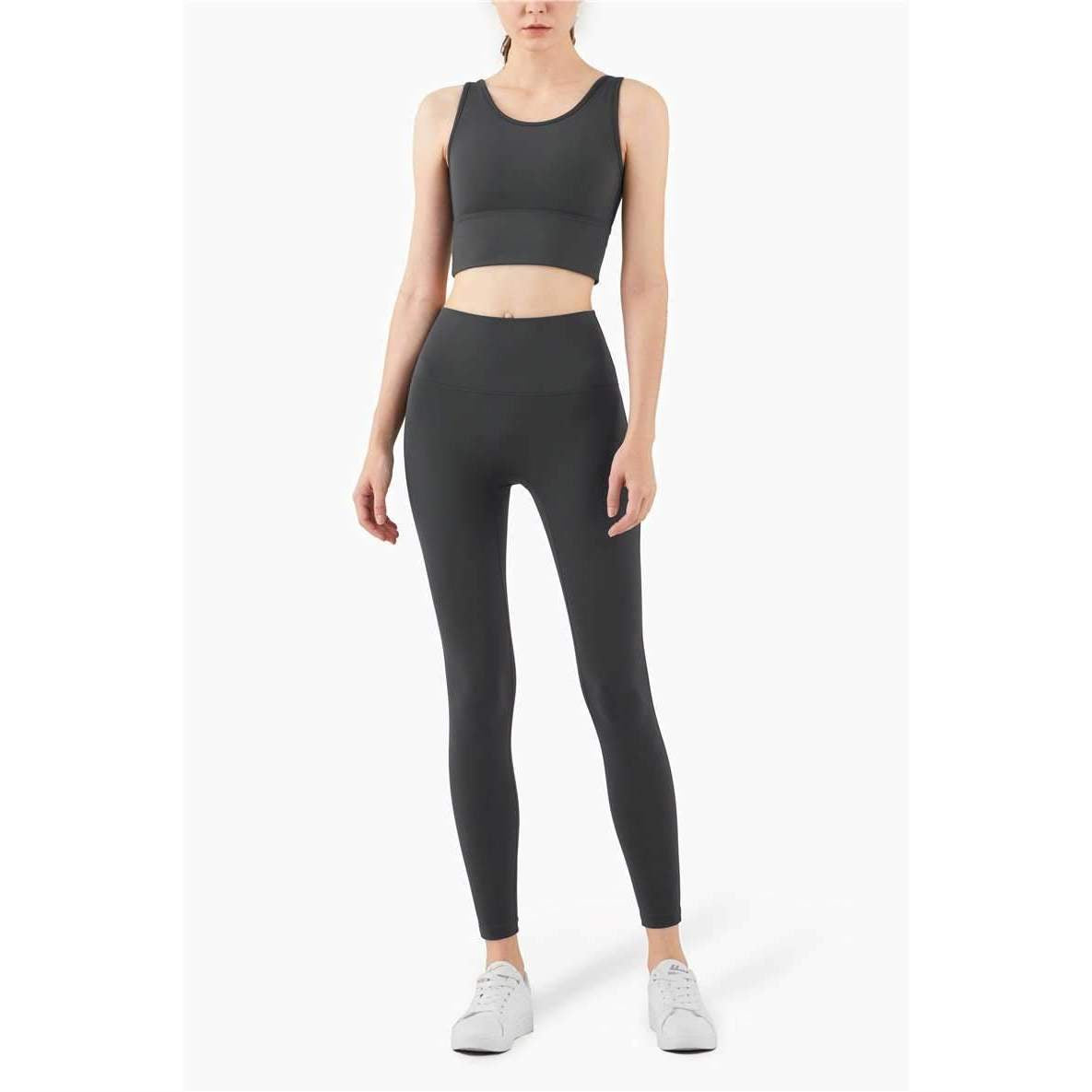 Mend VEST-TYPE High Impact Fitness Crop - Graphite Grey