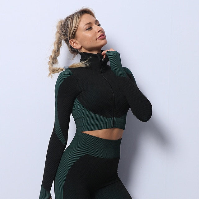 Mend MOMENTUM Zip Crop - Dark Green