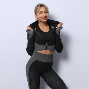 Mend MOMENTUM Zip Crop - Black/White