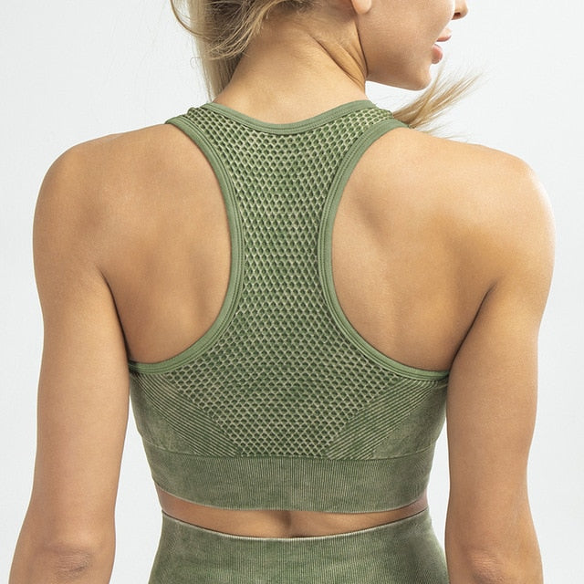 MEND Seamless RETRO Sports Bra - Army Green