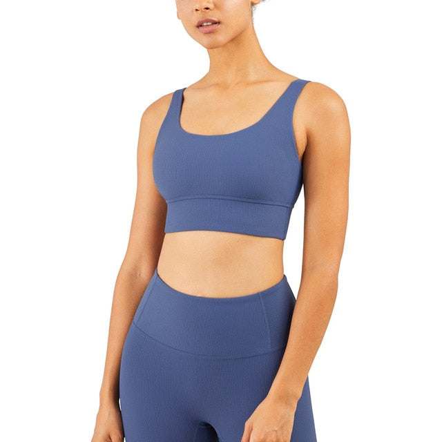 Mend RIBBED Naked Feel Sports Bra - Ink Blue