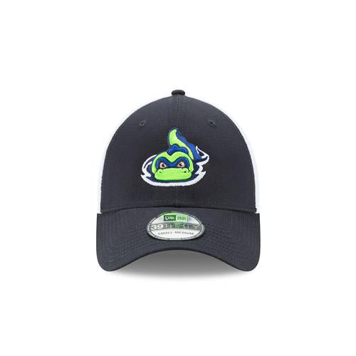 Vermont Lake Monsters Navy & White New Era Stretch Fitted Cap