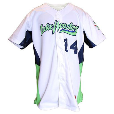 Vermont Lake Monsters 2017 Game Worn Home White Jerseys