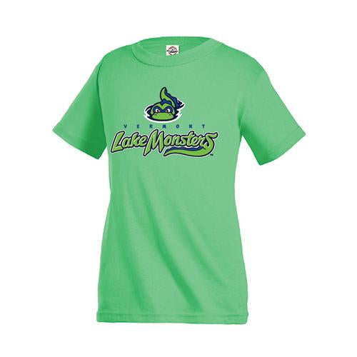 Vermont Lake Monsters Adult Primary Logo T-Shirt - Light Neon Green