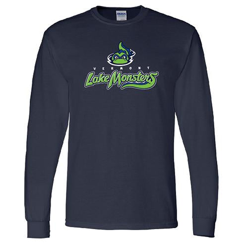 Vermont Lake Monsters Longsleeve Primary Logo T-Shirt - Navy
