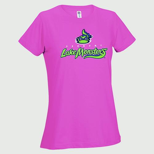 Vermont Lake Monsters Ladies Primary Logo Tee - Heliconia