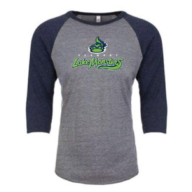 Vermont Lake Monsters 3/4 Length Long Sleeve Raglan Primary Logo Shirt
