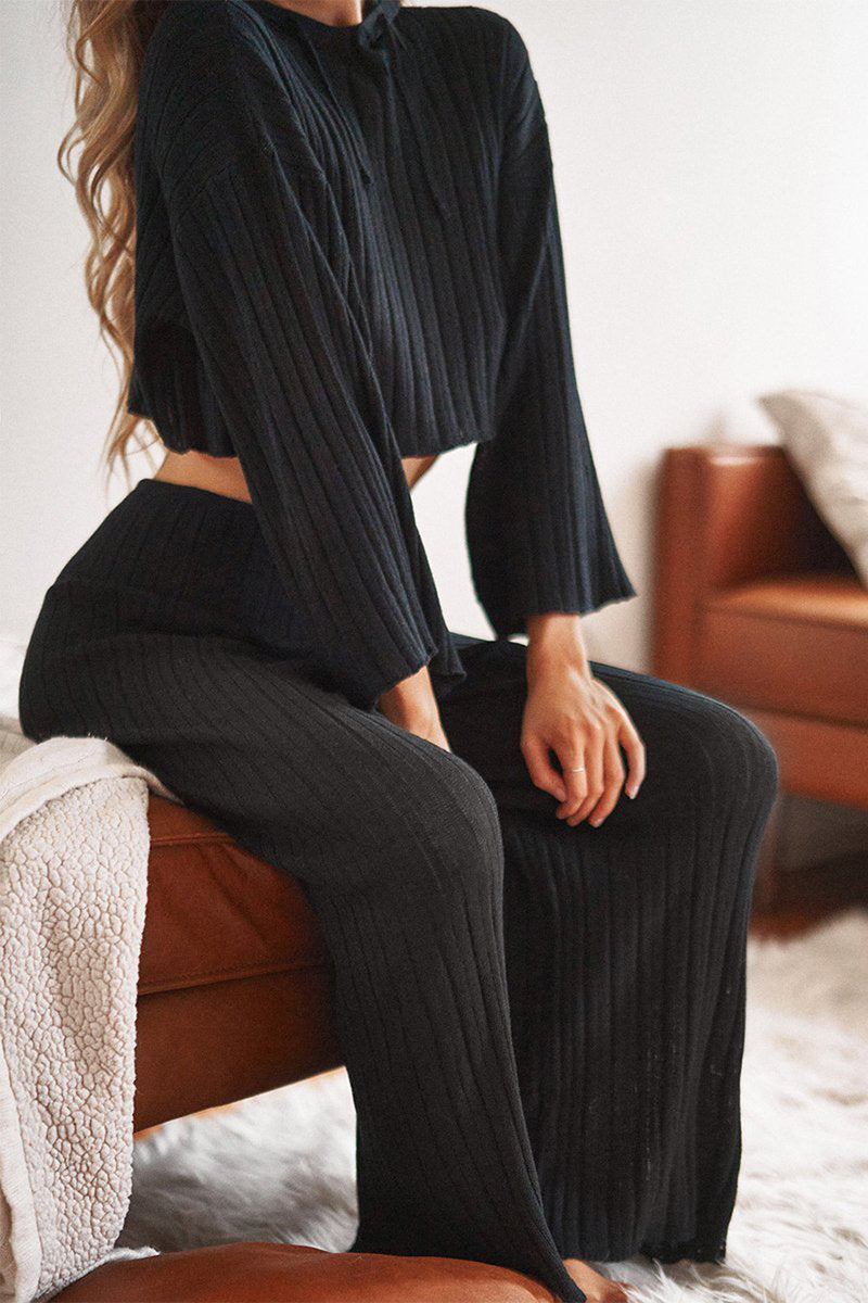 BAHA RIBBED WIDE LEG PANTS - BLACK