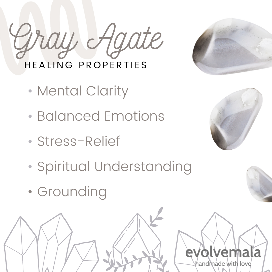 gray agate healing properties infographic