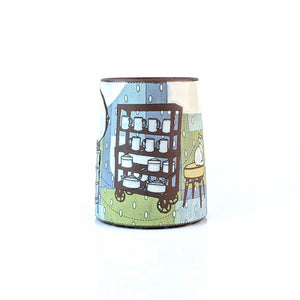 # 4 : Cat in the Pottery Studio w. Wheel, Kiln & Ware Rack - Mug