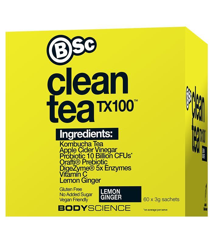 BSC Clean Tea TX100-Weight Loss - Fat Burners-Body Science-60 Serves-LEMON AND GINGER-Thrive Health and Nutrition