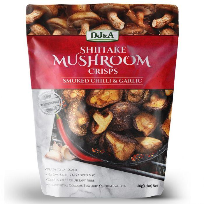 DJA Shiitake Mushroom Crisps-Health Foods - Snacks-DJ and A-30G-Smoked Chilli Garlic-Thrive Health and Nutrition