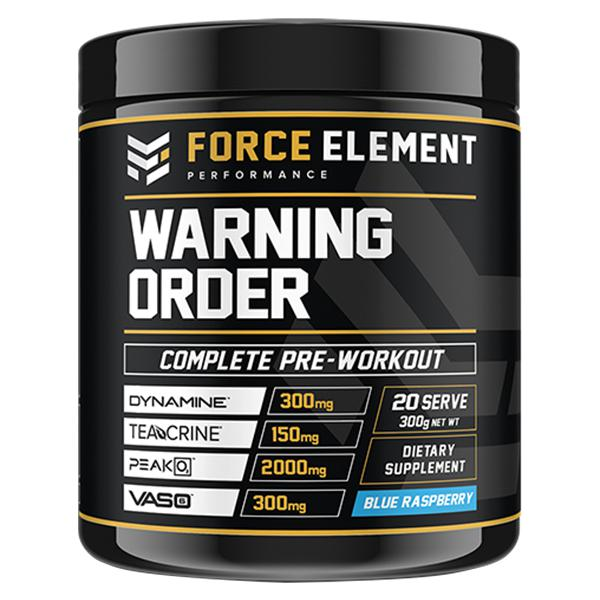 Force Element Warning-Sports Nutrition - Pre Workout-Force Element Performance-40 Serve-BLUE RASPBERRY-Thrive Health and Nutrition