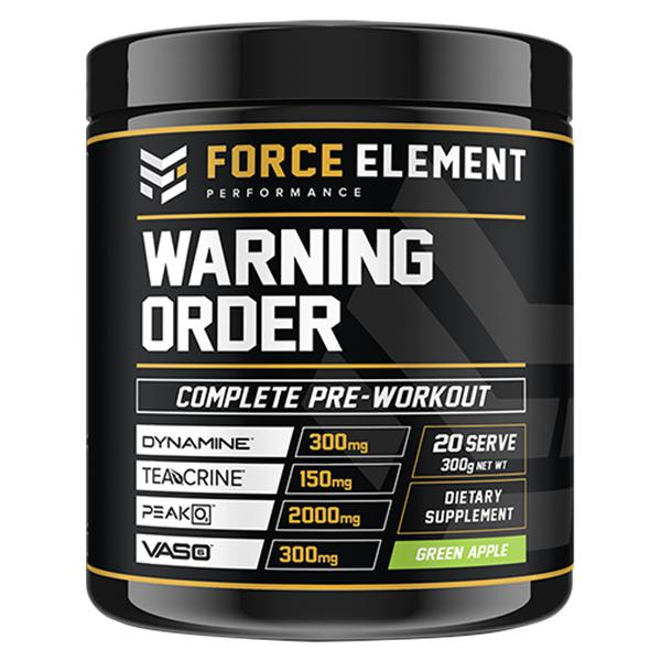 Force Element Warning-Sports Nutrition - Pre Workout-Force Element Performance-40 Serve-GREEN APPLE-Thrive Health and Nutrition