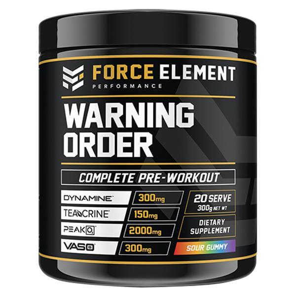 Force Element Warning-Sports Nutrition - Pre Workout-Force Element Performance-40 Serve-Sour Gummy-Thrive Health and Nutrition